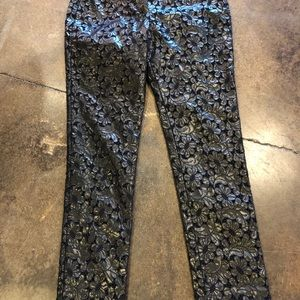 ERDEM Pants - Erdem black floral lacy pleather pants 38 2